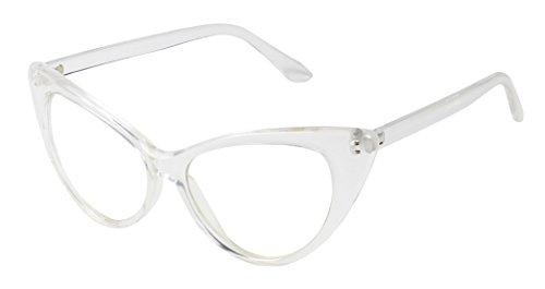 e82ba71b97 Basik Eyewear - Super Cat Eye Vintage Inspired Fashion Mod Clear Lens  Sunglasses (Clear Frame