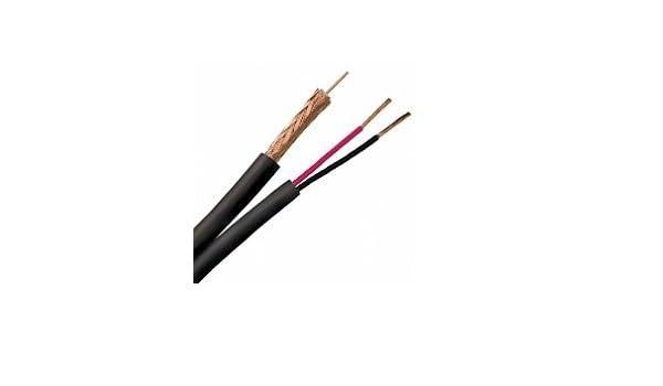 2 carretes RG6/U cable coaxial Siam 23/18 AWG de alambre de acero recubierto 95% BC trenzado CL2/cm para CCTV gato siamés - negro - 500 m carrete (carrete ...