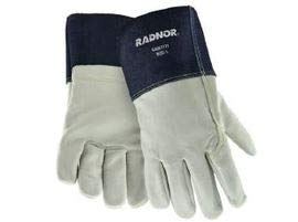 Radnor Large 12 Navy Blue and White Heavy Weight Grain Cowhide Unlined MIG Welders Gloves with 4 Cuff 10 Pairs