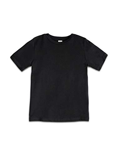 ant Toddlers and Kids 100% Organic Cotton Short Sleeve Crew Neck Tee Shirt - Black - 18-24M ()