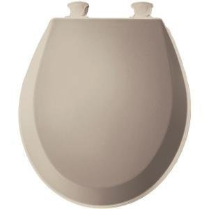 d Wood Round Toilet Seat With Easy Clean and Change Hinge, Fawn Beige ()