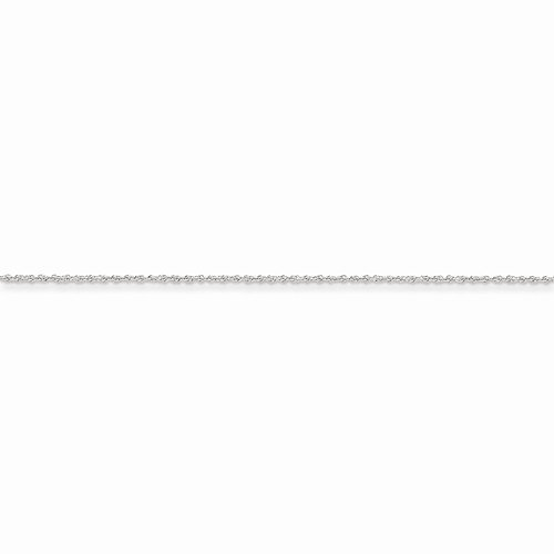 Solid 14k White Gold 1.3mm Heavy Children Boy Girl Baby Kids Rope Chain Necklace - with Secure Lobster Lock Clasp 14'' by Sonia Jewels