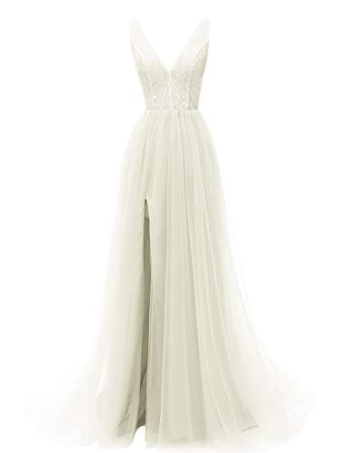 Prom Dresses Deep V Neck Tulle Lace Sex Split Dresses Long Prom Gown Evening Dress HFY290-Ivory-US8