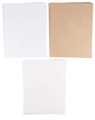 48-Sheet Stationery Paper - Tree-Free Handmade Paper for Letters, Invitations, 120 GSM, Laser and Inkjet Printer Friendly, 3 Assorted Colors, White, Ivory, and Taupe, Letter-Sized, 8.5 x 11 Inches