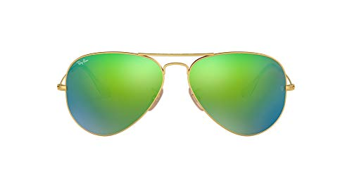 Ray-Ban RB3025 Aviator Flash Mirrored Sunglasses, Matte Gold/Green Flash, 55 mm (Ray-ban Rb3025 55 Aviator)