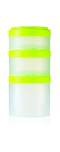 BlenderBottle ProStak Twist n Lock Storage Jars Expansion 3-Pak with Pill Tray, Clear/Green