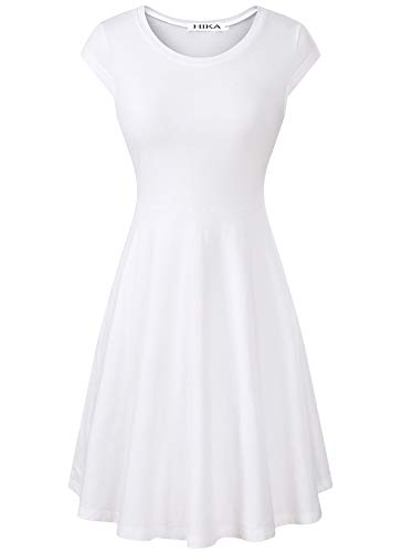 HIKA Women's Casual Elegant A Line Short Cap Sleeve Round Neck Dress (Small, White)