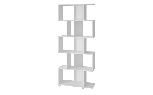 Collection Plasma Console - Manhattan Comfort Petrolina Collection Modern Decorative Free Standing Open Z-Shelf Style Bookcase , White