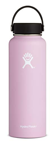 Hydro Flask 40 oz Water Bottle - Stainless Steel & Vacuum Insulated - Wide Mouth with Leak Proof Flex Cap - Lilac