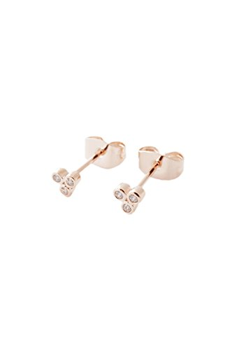 HONEYCAT Crystal Trinity Studs in 18k Rose Gold Plate | Minimalist, Delicate Jewelry (RG)