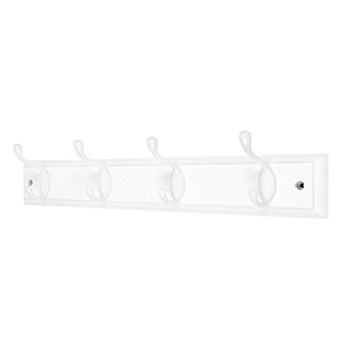 4-White Hooks -(4 Colors, Available 4 and 6 Hooks)- on White Wooden Board Coat Rack Hanger, Mail Box Packing ()
