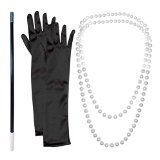 20s Flapper Gangster Pearl Necklace With Cigarette Holder And Black (Gangster Necklaces)