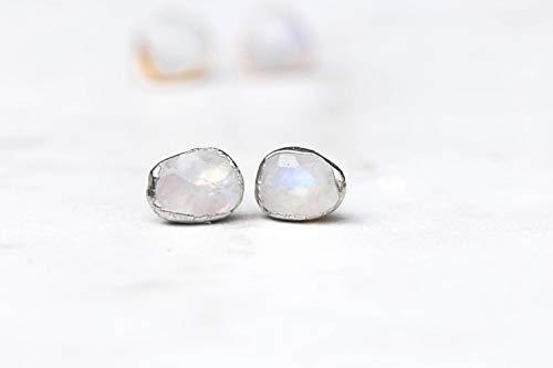 Vintage Earrings Moonstone (Rainbow Moonstone Earrings, Sterling Silver, Rose Cut)