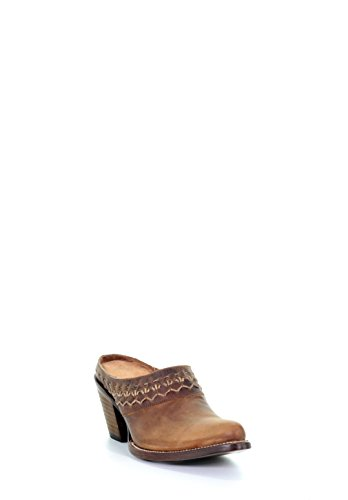 (Circle G Women's Woven Mule Macocel Heels Snip Toe Leather Cowgirl Boots - Brown)