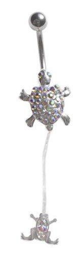 (Ab Sparkling Aurora Gem Turtle Frog Illusion Dangle Belly button Navel Ring 14 gauge)