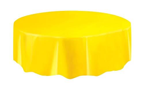Unique Industries Yellow Round Plastic Tablecloth 84 Diameter