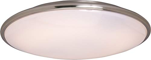 Maxim 87211SN Rim EE 2-Light Flush Mount, Satin Nickel Finish, White Glass, 4-Pin T9 Circline Fluorescent Fluorescent Bulb , 15W Max., Wet Safety Rating, 3000K Color Temp, ELV Dimmable, Acrylic Shade Material, 1050 Rated Lumens ()