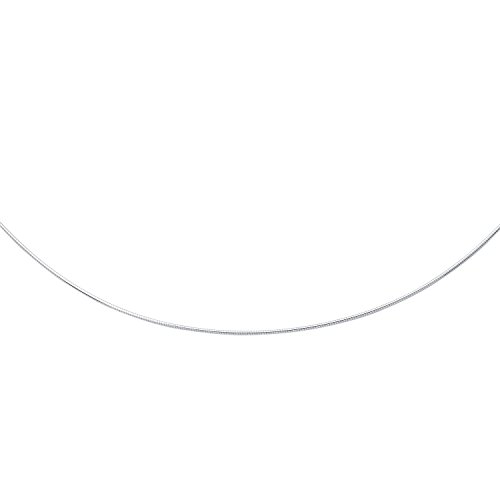 """14K 16"""" White Gold 1.5mm Polish Diamond Cut Round Omega Necklace With Screw Off Lock And Pear Shape Clasp"""