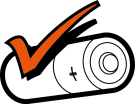 Image of battery with orange tick