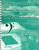 Repository of scales and melodic patterns for bass clef instruments
