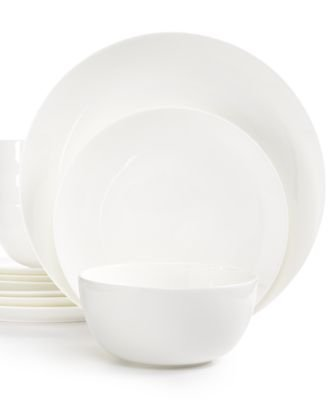 - Hotel Collection White Dinnerware, Bone China Coupe 12-Pc. Set, Service for 4