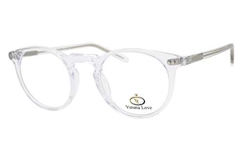 High End Acetate Eyewear Frame Crystal Clear Fashion Eyeglasses Optical Frame For Men and Women (Utah Crystal)