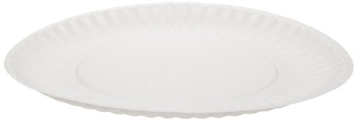 "Dixie WNP9OD Uncoated Unprinted Paper Plate, 9"" Diameter, White (Case of 4 Packs, 250 Plates per Pack)"