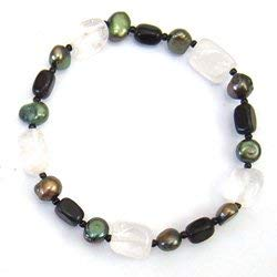 CrystalAge Black Onyx & Quartz Gemstone Nugget Bracelet with Green Freshwater Pearls