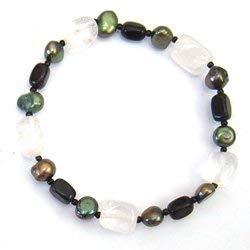 - CrystalAge Black Onyx & Quartz Gemstone Nugget Bracelet with Green Freshwater Pearls