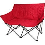 Outdoor Plush Folding Padded Love Seat Chair, Red ()
