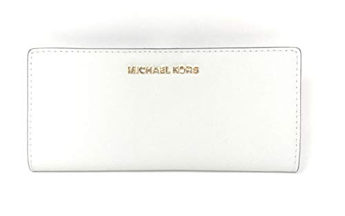 - Michael Kors Jet Set Travel Flat Slim Bifold Saffiano Leather Wallet (Optic White)