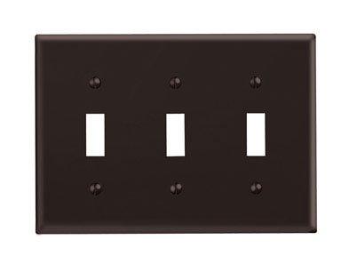 Leviton 001-85011-BR Triple Gang Brown Triple Toggle Wallplate ()