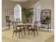 Hillsdale Brookside Round 5-Piece Dining Set with Oval Back-Chairs, Brown Powder Coat Finish, Set Includes 1-Table and 4-Chairs