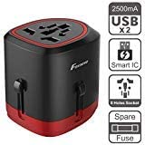 Universal Travel Adapter, Foxnovo Worldwide All in One Universal Power Converters Wall AC Power Plug Adapter Power Plug Wall Charger with Dual USB Ports for EU, UK, USA, AU, Covers 160+Countries