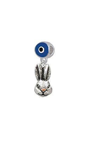 Antiqued Bunny Head - Blue Evil Eye Charm Bead (Evil Easter Bunny)