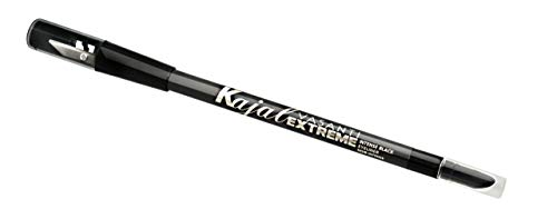Kajal Extreme Eyeliner Pencil by VASANTI - Intense Black Eyeliner with Built In Sharpener and Smudger - Waterproof, Paraben Free