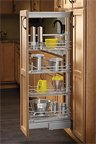 "hot sale Soft-Close Chrome Wire Pantry Pull-Out w/ 4-6 Baskets, 8-7/8"" W x 43-13/32"" - 50-3/4"" H x 20"" D Dimensions, Chrome finish250 lb. Weight Rating, 4 Baskets"