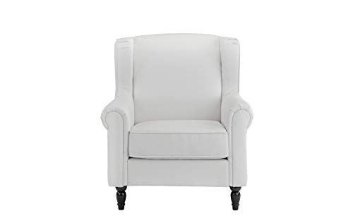 Classic Scroll Arm Faux Leather Accent Chair, Living Room Armchair White