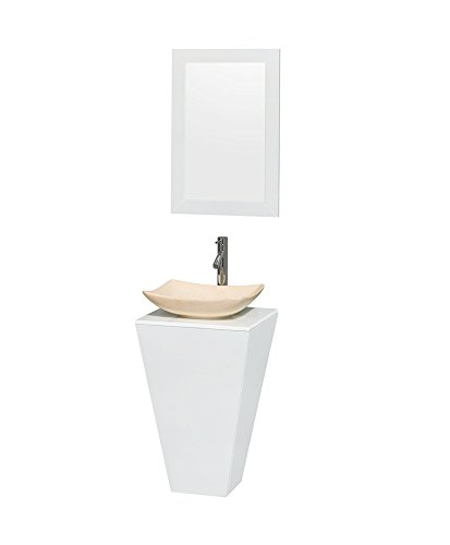 Vanity Marble Stone Pedestal (Wyndham Collection Esprit 20 in. Pedestal Bathroom Vanity in Glossy White, White Man-Made Stone Countertop, Arista Ivory Marble Sink & 20
