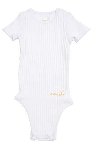 Silky Toes Unisex Baby Infant Short-Sleeve Onesies Girls Boys Cotton Bodysuit (12 Months, White) (Sleeve Ribbed Onesie Short)