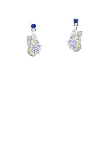 Translucent Purple & Lime Green Flying Butterfly Blue Crystal Post (Blue Enamel Butterfly Post Earrings)