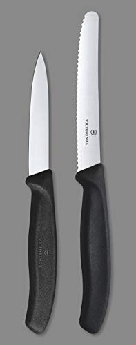 Victorinox Kitchen Knife, Set of 2, Sharp Stainless Steel Straight Edge and Wavy Edge Knives, Black Price & Reviews