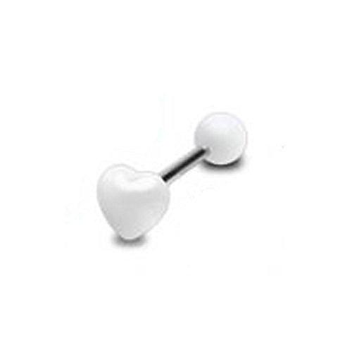Galleon - 1 X White Acrylic Puffed Heart Top Tongue Bar