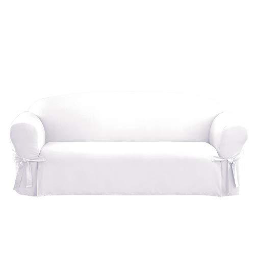 (Sure Fit Cotton Duck Sofa Slipcover White)