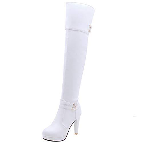 Vitalo Womens Over The Knee High Heel Thigh High Platform Boots Zipper Size 12.5 B(M) US,White