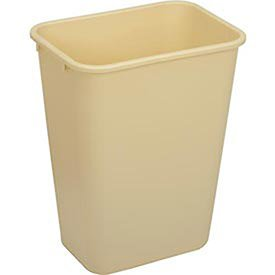 Continental 4114BE 41-1/4 Quart Commercial HDPE Trash Can, Rectangular, Beige
