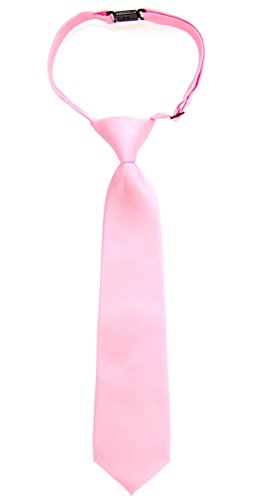 Woven Solid Color (Retreez Solid Matte Color Woven Microfiber Pre-tied Boy's Tie - Pink - 4 - 7 years)
