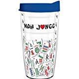 Tumbler 16 oz - Mah Jongg Tile Design Tritan USA Drinkware (Blue Lid) ()