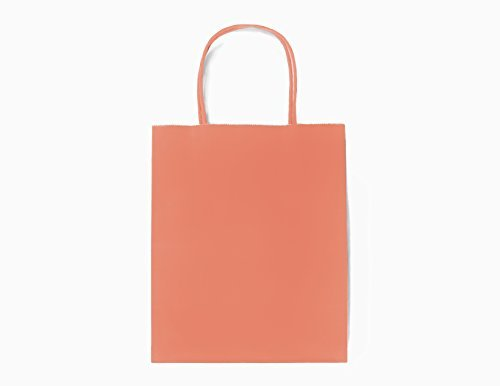12CT MEDIUM CORAL BIODEGRADABLE, FOOD SAFE INK & PAPER KRAFT, PREMIUM QUALITY PAPER (STURDY & THICKER), BAG WITH COLORED STURDY HANDLE (Medium, Coral)