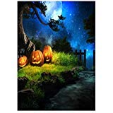 (90150cm 3D Halloween Creepy Backdrop Realistic Horror Pumpkin Scary Woods Background for Parties Photography Studio Photo Booth)